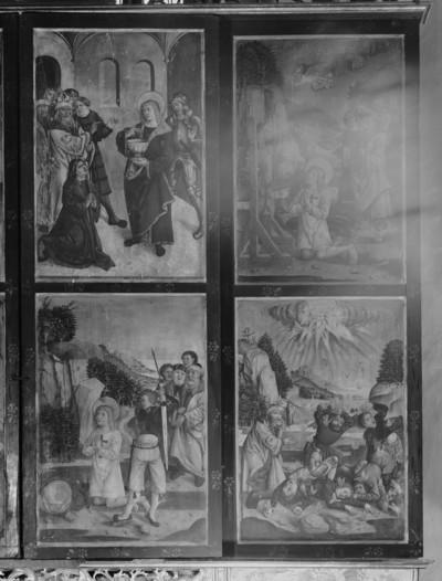 Geschlossener Zustand: rechter Standflügel und Innenseite des rechten Innenflügels. Bild oben links: Heiliger Georg belehrt den Zauberer durch Leerung des Giftbechers