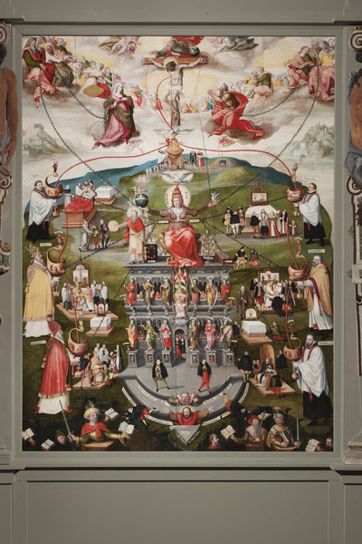 Epitaph des Domherrn Ernst von Wrisberg (gest. 1590) — Kreuzigung mit gemaltem Katechismus