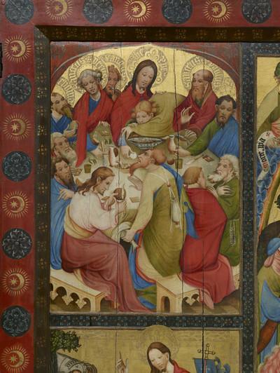 Wildunger Altar — Altar im geöffneten Zustand — Abendmahl, Christus am Ölberg, Kreuzigung, Auferstehung und Himmelfahrt — Das letzte Abendmahl