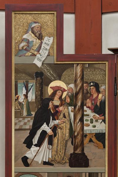 Wendelinsaltar — Oberes Bildfeld - der heilige Wendelin führt einen Mönch an eine Tafel im Hintergrund