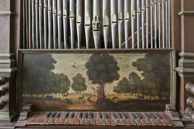 Landschaftsdarstellung mit Tieren und einem Harfenspieler