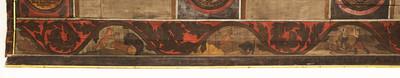 Ratshalle — Gotische Decke — Fries mit Jagd- und Reinecke Fuchs-Szenen — Südwand: Szenen der Fabel Reinecke Fuchs mit Braun den Bären und Kater Hinze