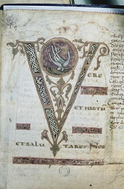 Gregor-Sakramentar — Initiale V, Folio 2 recto