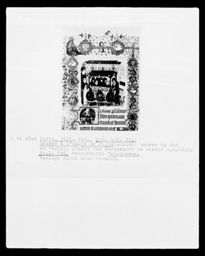 Grandes Heures des Herzogs von Berry — Textseite mit Mönchen, die Totenwache am Katafalk halten, Folio 106 recto — Kleinbild, 8-zeilig: Mönche halten Totenwache am Katafalk, Folio 106 recto