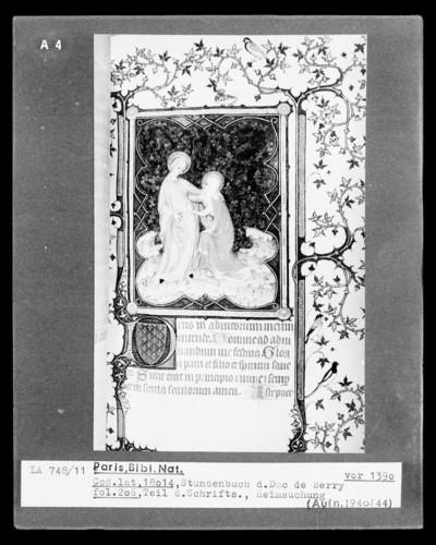 Petites Heures des Herzogs von Berry — Die Heimsuchung Mariens, Folio 206 recto