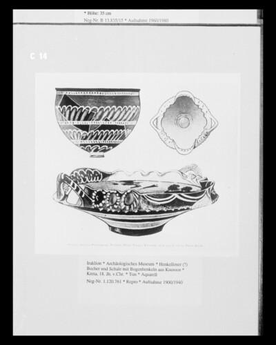 Henkelloser (?) Becher und Schale mit Bogenhenkeln aus Knossos