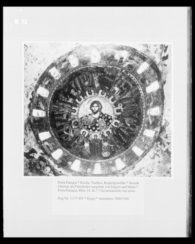 Mosaik: Christus als Pantokrator umgeben von Engeln und Maria