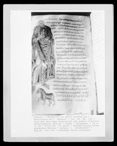 Vita der heiligen Euphrosina und andere Traktate verschiedener Zeiten — Randzeichnung eines stehenden Mönchs, Folio 73 verso