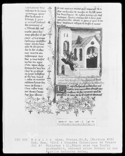 Chroniques de France in zwei Bänden — Chroniques de France, Band 1 — Ein heiliger Mönch wird vom Teufel mißhandelt, während seine Brüder beten, Apollinaris?, Folio 41recto