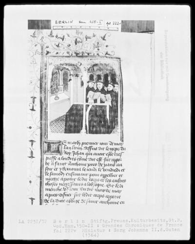 Chroniques de France in zwei Bänden — Chroniques de France, Band 2 — Sarg Johanns 2. des Guten, Folio 222verso