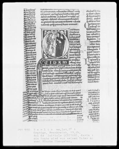 Gratian — Initiale Q (UIDAM), darin wird ein Knabe von seinem Vater an zwei Mönche übergeben, Folio 64recto