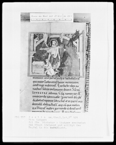 Leben des heiligen Liudger — Liudger erscheint dem Mönch Adelward und vertreibt den Teufel, Folio 25verso