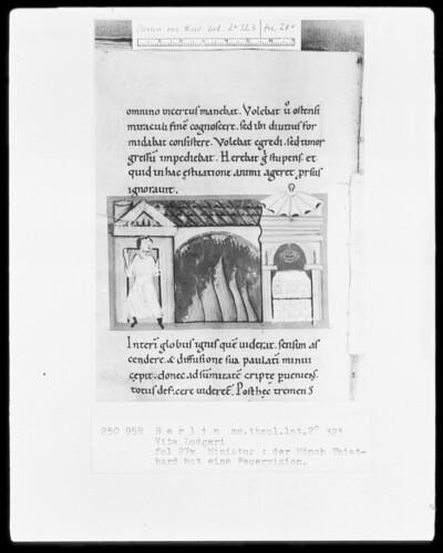 Leben des heiligen Liudger — Der Mönch Thiathard hat eine Feuervision, Folio 27verso