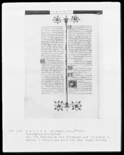 Franziskanisches Brevier — Initiale E, darin erhalten drei Jünglinge den Segen Gottes, Folio 13verso