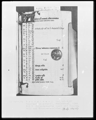 Brevier und Kalendar — Kalendar, Folio 2-7 — Kalenderseite April, Folio 3recto