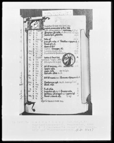Brevier und Kalendar — Kalendar, Folio 2-7 — Kalenderseite August, Folio 5recto