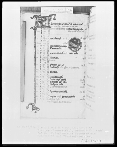 Brevier und Kalendar — Kalendar, Folio 2-7 — Kalenderseite November, Folio 6verso