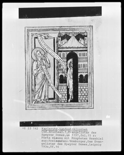Evangelistar des Speyrer Domes — Porta clausa, Folio 15recto