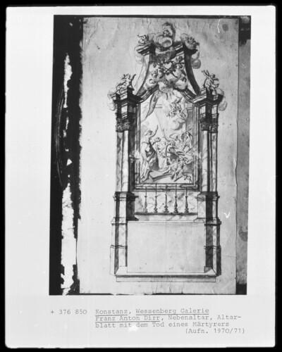 Nebenaltar mit Altarblatt mit dem Tod eines Märtyrers