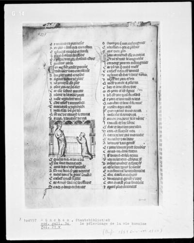 Le pélerinage de la vie humaine — Königin und kniender Mönch, Folio 21verso