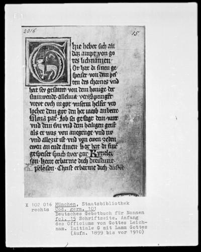 Deutsches Gebetbuch für Nonnen — Initiale G (hie hebet) mit Lamm Gottes, Folio 15recto