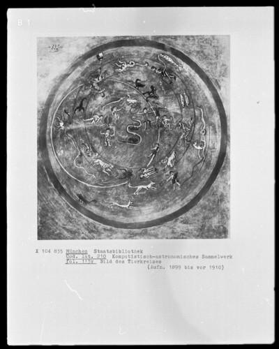 Komputistisch-Astronomisches Sammelwerk — Bildseite mit Tierkreis, Folio 113verso