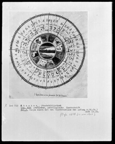 Avenares, Astrologische Handschrift — Mappa mundi mit dem Tierkreis, Folio 2recto