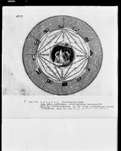 Avenares, Astrologische Handschrift — Tierkreiskarte, in der Mitte ein Astronom, Folio 8recto