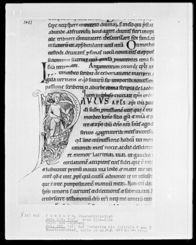 Bibel aus dem Augsburger Dom — Initiale P (aulus), darin Mönch, Folio 233recto