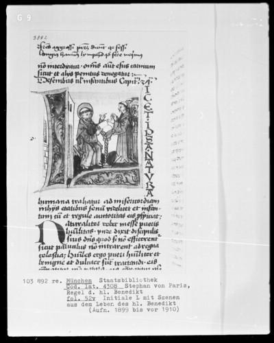 Stephan von Paris, Auslegung der Regel des heiligen Benedikt — Initiale L (icet), darin Mönche sich bei Benedikt beschweren, Folio 52verso