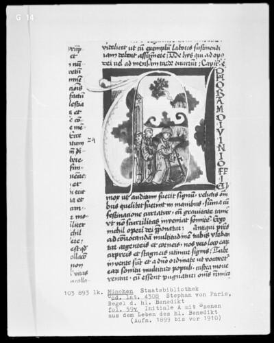 Stephan von Paris, Auslegung der Regel des heiligen Benedikt — Initiale A, darin Benedikts Sensenwunder, Folio 59verso