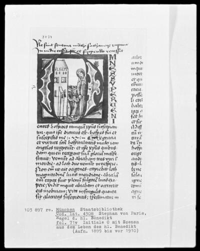 Stephan von Paris, Auslegung der Regel des heiligen Benedikt — Initiale O (mnes), darin Benedikt und seine Mönche verlassen das Kloster, Folio 71verso