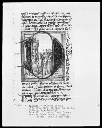 Stephan von Paris, Auslegung der Regel des heiligen Benedikt — Initiale A, darin Benedikt schickt zwei Mönche aus, Folio 111verso