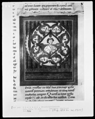 Decretum gratiani — Initiale E mit dem Brustbild eines Mönches, Folio 176