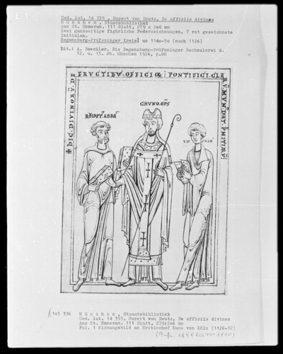 Rupert von Deutz, De officiis divinis — Widmungsbild an Erzbischoif Kuno von Regensburg, Folio 1verso
