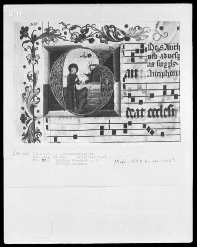 Graduale in zwei Bänden und ein dazugehöriges Antiphonar — Antiphonar aus dem Münchner Clarissinenkloster — Initiale G (audeat) mit einer Szene aus dem Leben des heilige Antonius, Folio 91recto