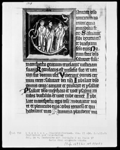 Psalterium mit Kalendarium — Initiale C mit drei singenden Mönchen, Folio 90verso