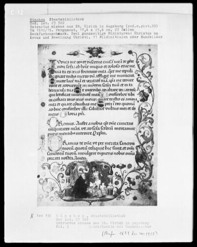Extractus missae aus Sankt Ulrich in Augsburg — Der Schmerzensmann erscheint einem Mönch, Folio 2recto