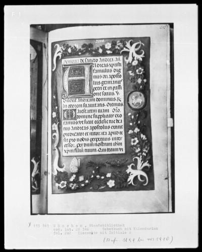 Gebetbuch mit Kalendarium — Textseite mit einer Minatur in der Bordüre: Agnus Dei, Folio 202recto