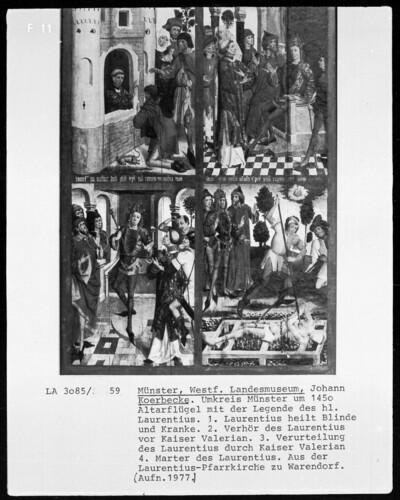 Altarflügel mit der Legende des heiligen Laurentius
