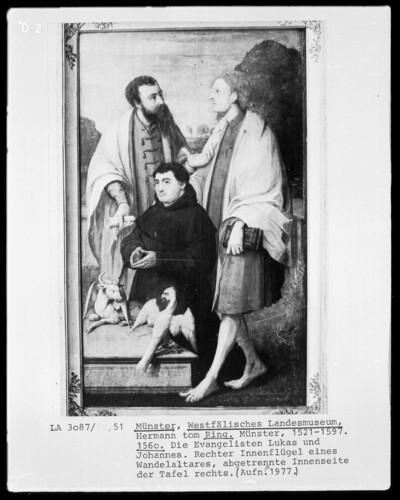 Zwei Kirchenväter mit Stifter — Die Evangelisten Lukas und Johannes mit Stifter