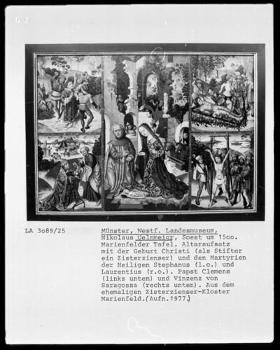 Anbetung des Kindes und vier Szenen aus der Legende von Heiligen