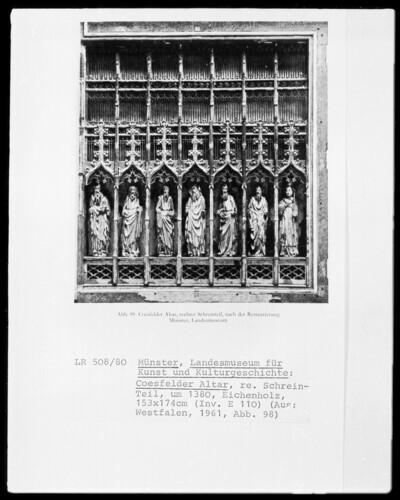 Linker Flügel des Coesfelder Altar: 6 Apostel und der heilige Augustinus