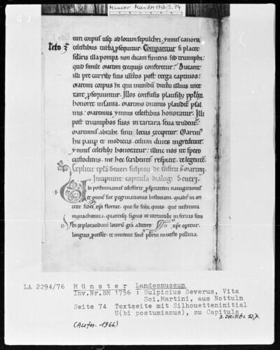 Textseite mit Silhouetteninitiale U(bi postumianus), zu Capitula (Seite 74)