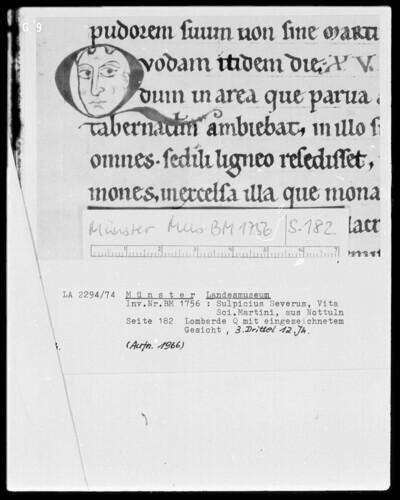 Textseite mit Lombarde Q mit eingezeichnetem Gesicht (Seite 182)
