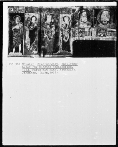 Indulgenzbrief für Kloster Schildsche mit der Darstellung einer Madonna, der heiligen Katharina und dem heiligen Johannes Baptista