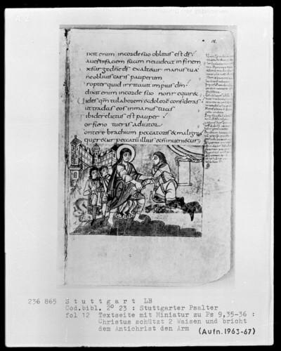 Der Stuttgarter Bibelpsalter — Christus beschützt Waisen gegen den Antichrist, Folio 12recto