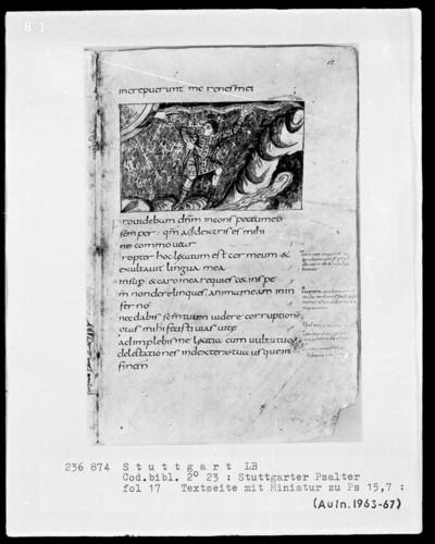 Der Stuttgarter Bibelpsalter — Ein Nierenkranker wendet sich zu Gott zurück, Folio 17recto