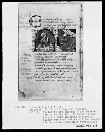 Der Stuttgarter Bibelpsalter — Himmlische und irdische Gerechtigkeit, Folio 17verso