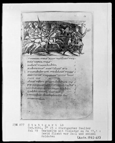 Der Stuttgarter Bibelpsalter — David flieht vor Saul, Folio 19recto